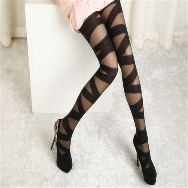 Female Women Ladies Sexy Fashionable Cross Straps Pattern Pantyhose Tights Stockings 0373