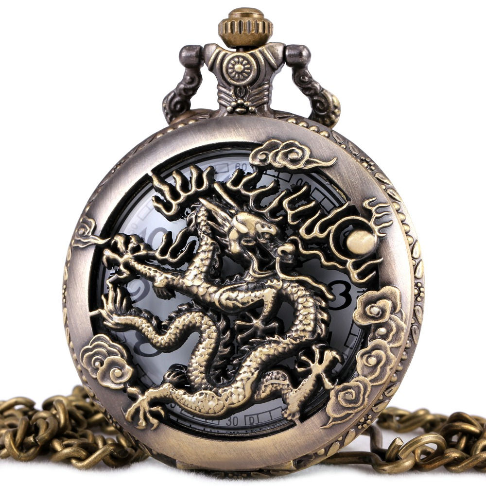 Mens pocket watches with chain images mens gold pocket watches gifts - Vintage Luxury Men Women Pocket Watches Dragon Design Td Brand Skeleton Unisex Quartz Watches Pendant Chain Carved Lid Gift Box