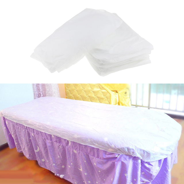 10 adet dokunmamış tek kullanımlık masaj masa örtüsü yatak örtüsü su geçirmez beyaz