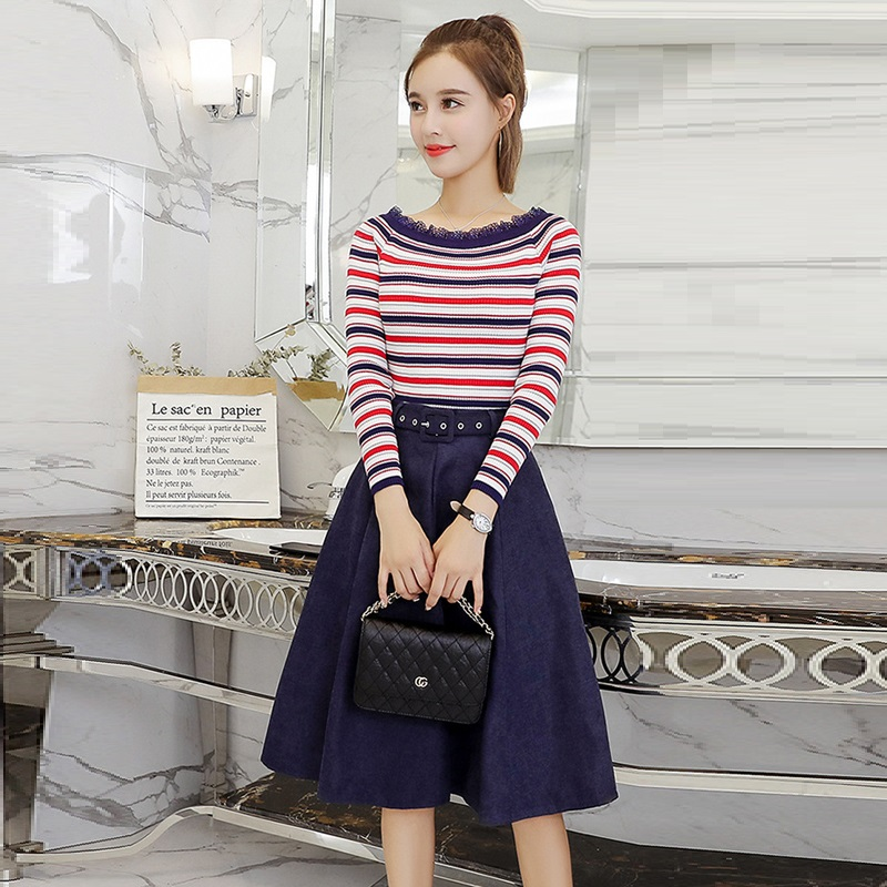 Two Piece Set Women Slash Neck Striped Knitted Sweater Skirts Sets 2018 New Autumn Winter Lace UP High Waist Skirt Suits 2PCS