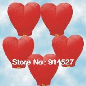 Free Shipping 20pcs Romantic Heart Shaped Love Sky Lanterns Fire Air Chinese lanterns Valentine Day Wedding Decorations Gifts