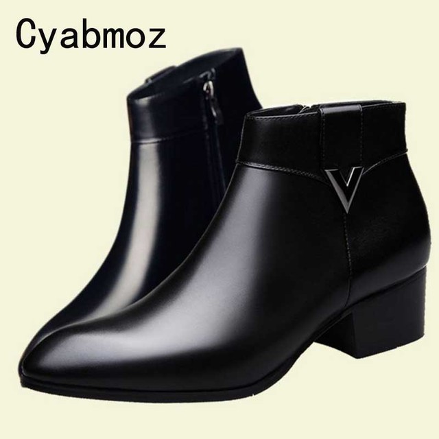 61586c0e313b2 Mens Thick High Heels Boots Pointed Toe Genuine Leather Men Dress Shoes  Fashion Cowboy Boots Classic Black Buckle Ankle Booties