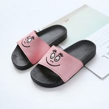 Kids Slippers Leather Anti-skidding Cartoon Smiley Character Boys Girls Home Slippers Summer Comfortable Soft Sole Size 26-30