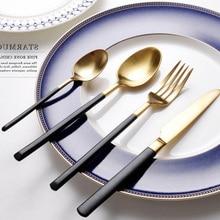 4 Unidades de Alto grado Cabeza de Oro Juego de Vajilla de Acero Inoxidable Cubiertos Vajilla Cuchillo Tenedor Cuchara Cena de Lujo