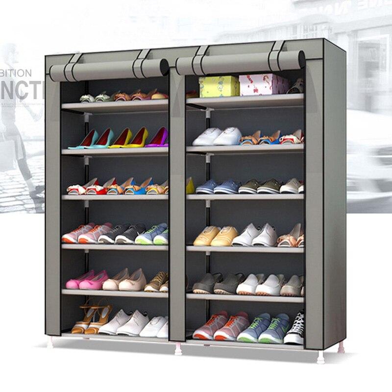 Grande sapato gabinete 10-layer 9-grade Não-tecido tecidos sapato rack de armazenamento sapato organizador removível para móveis para casa armário de sapatos