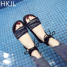 HKJL 2019 new sandal casual retro ethnic style thick bottom sponge cake with womens shoes fashion open toe slippers A017