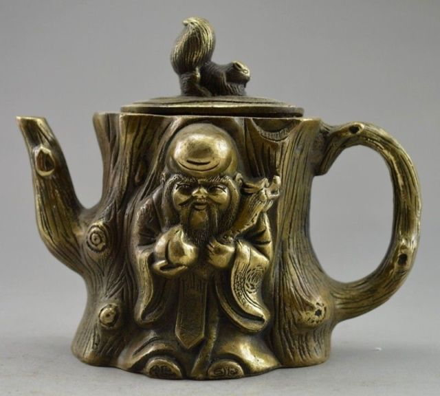 Chinese Old Copper Carved Squirrel Immortal Tree Tea PotChinese Old Copper Carved Squirrel Immortal Tree Tea Pot