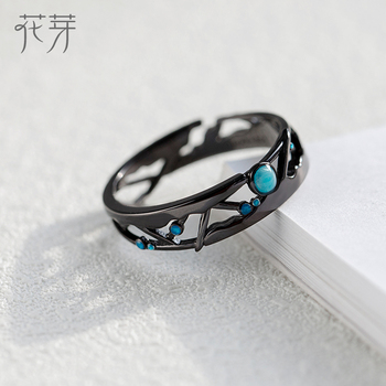 Thaya CZ Milky Way Black Rings Blue Bright Cubic Zirconia Rings 925 Silver Jewelry for Women Lover Vintage Bohemian Retro Gift 1