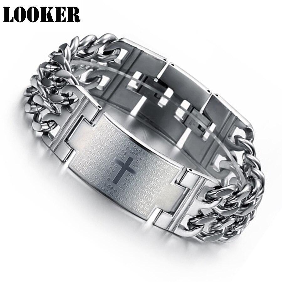 New Design Bible Cross Lord's Prayer Pulseras 316L Stainless Steel Bracelets Wristbands Bangle Trendy Belief Jewelry Brace lace