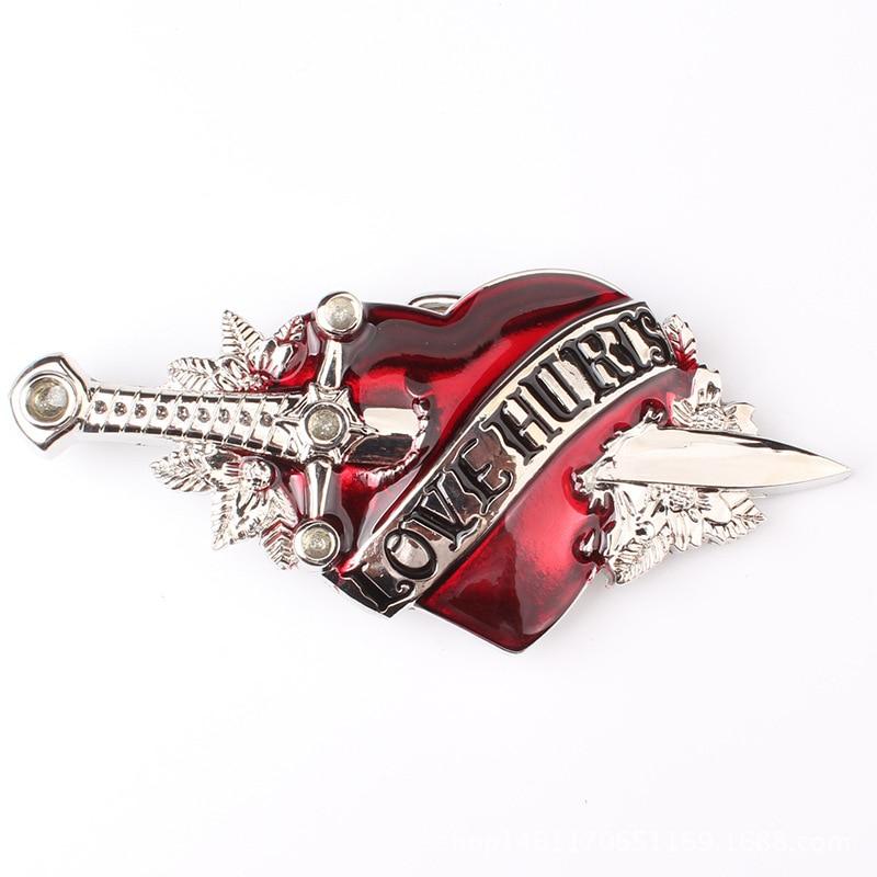 A Sword Cuts Through The Heart Man Belt Buckle