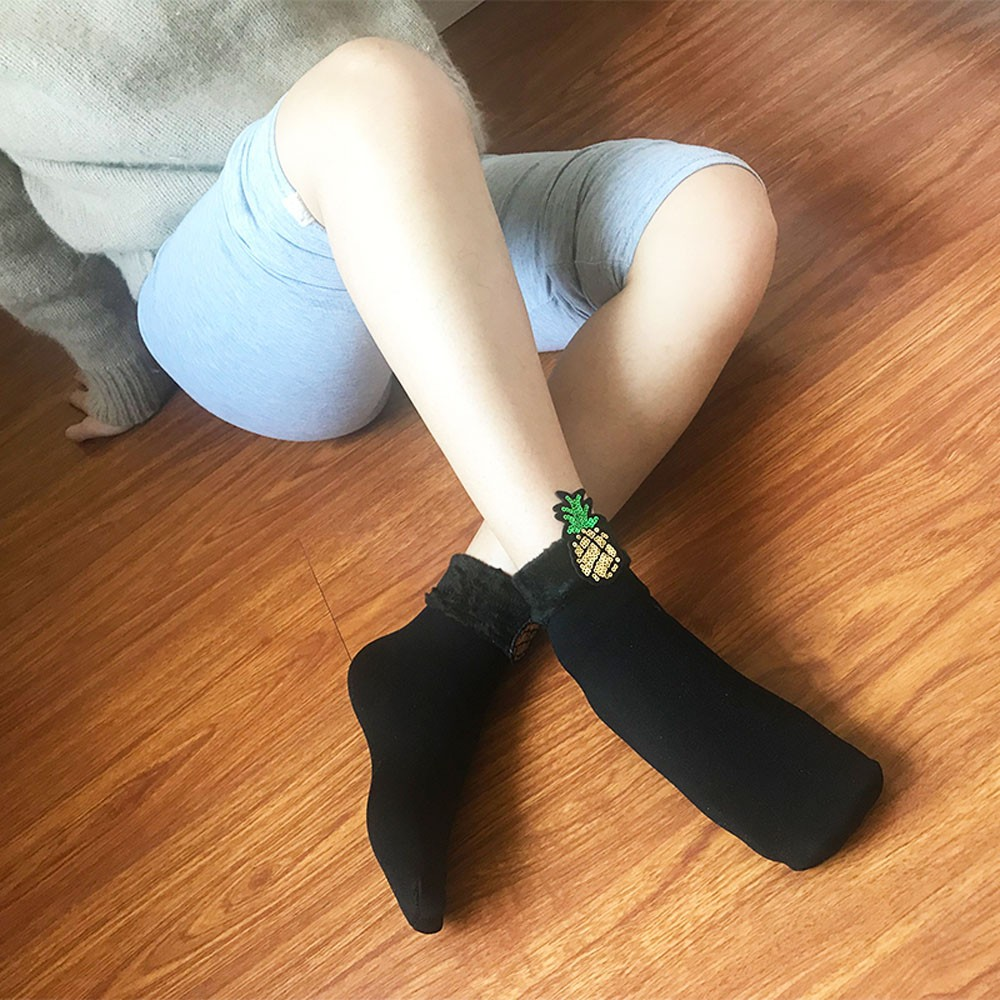 Hot 1 Pair Men Women Ladies Cute Pineapple Snow Socks Sweet Edged Tube Cotton Socks Thick Winter Warm Sport Socks S10 Se10 Curing Cough And Facilitating Expectoration And Relieving Hoarseness Sockets