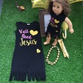 2016 girls summer dress kids dress  y'all need Jesus dress black dress sleeveless with necklace