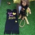 2016 meninas de verão vestido de crianças vestido você precisa de Jesus vestido preto sem mangas com colar