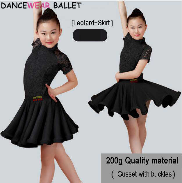 Neue Mädchen Latin Dance Rock Ballsaal Salsa Tango Röcke Kind Kind Spitze Latin Dance Split Kleid Mit Trikot Und Rock