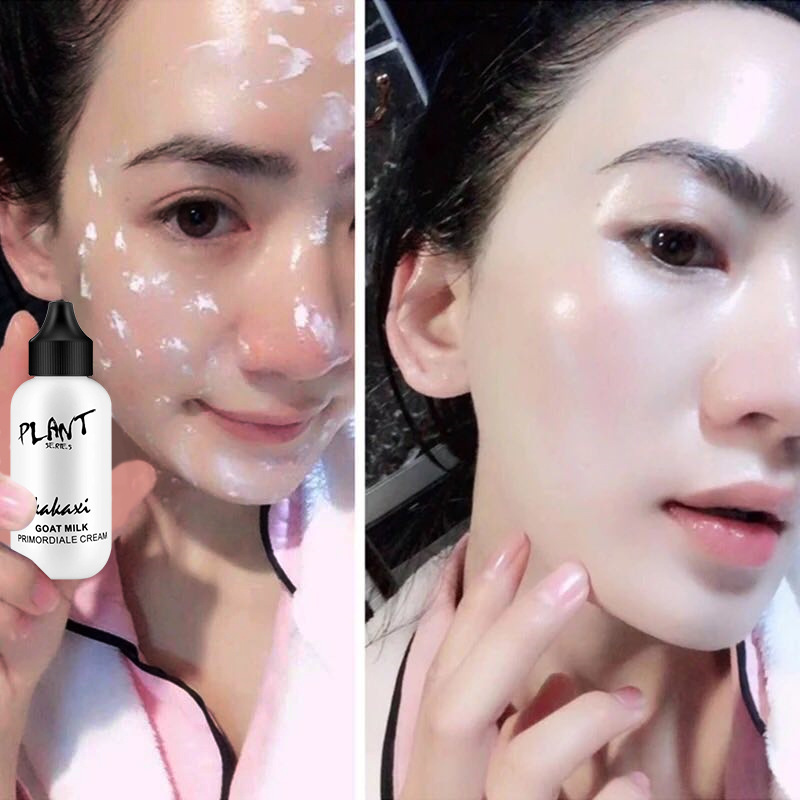 Lazy Face Liquid Foundation Cream Goat Milk Revitalizing Skincare Pro Makeup Base Full Coverage Waterproof Brighten Pores TSLM1 in Face Foundation from Beauty Health