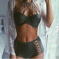 2016 New Criss Cross Halter Top Bikini Set Push Up Swimming Suit For Women Biquini Retro