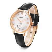 Time100 Fashionable Vintage Sparkling Leather Quartz Women Watch for Ladies With Small Dial Second and Roman Numerals