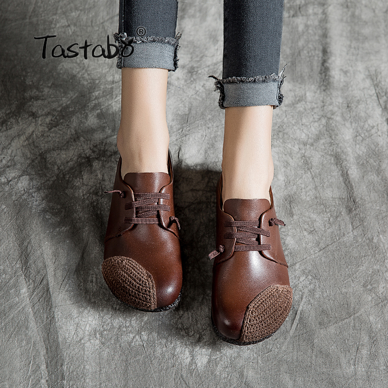 Tastabo Leather soft bottom shoes Women Shoes New Arrival Work Driving Shoes Comfortable mouth retro style