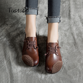 Tastabo Leather soft bottom shoes Women Shoes New Arrival Work Driving Shoes Comfortable mouth retro style Wild women's shoes