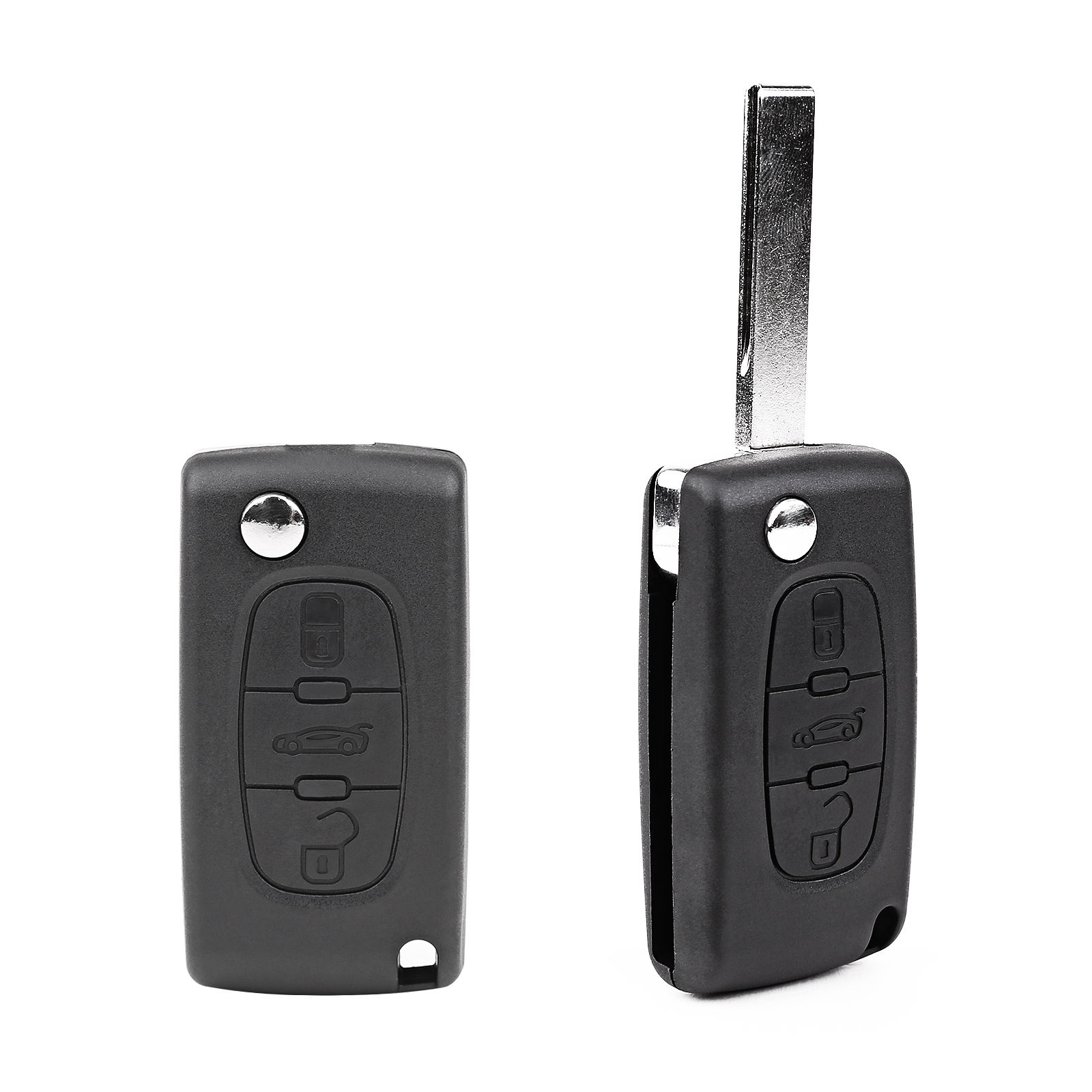 3 Buttons Folding Remote Key Shell Case Protection Cover Replacement For PEUGEOT 207 307 407 308 607 Key Shell Fitting