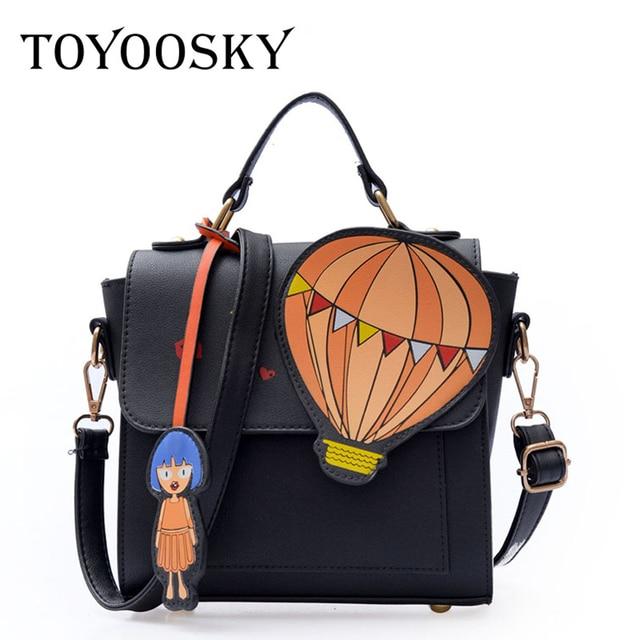 52fb3f0dfdbc TOYOOSKY Cute hot air balloon cartoon printed women s handbag fashion girl  strap shoulder bag female crossbody