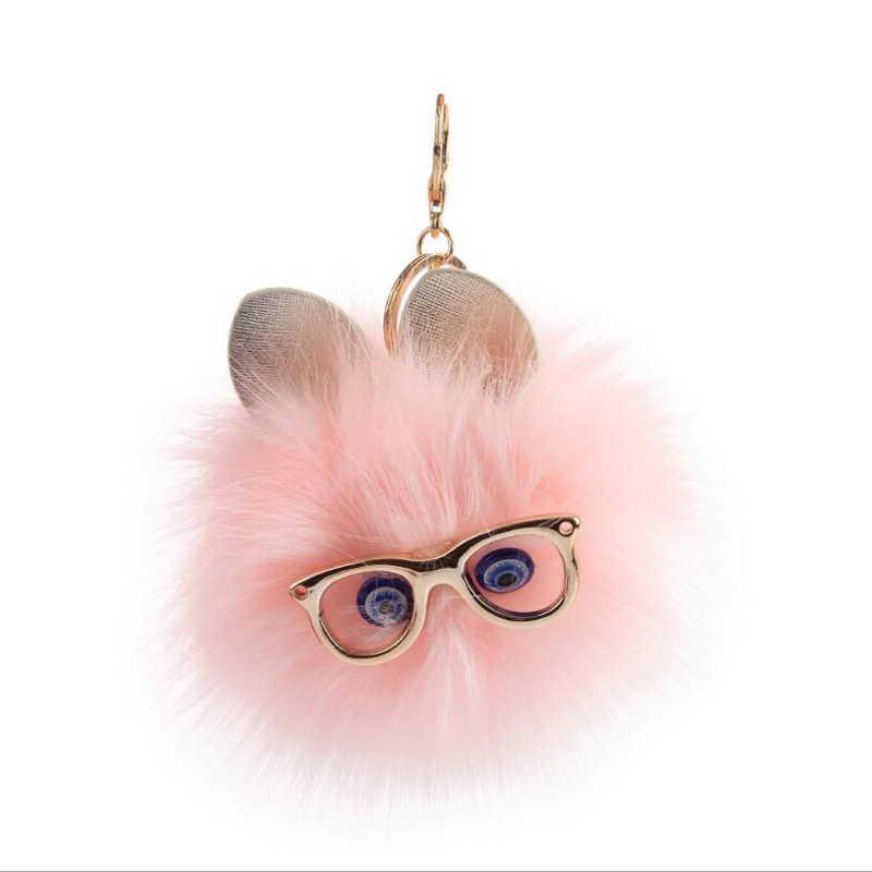 2018 Nova Chegada Bonito Fofo Usar Óculos Cat Chaveiro Bola De Pele De Coelho Pom Pom Para Mulheres Meninas Saco Chaveiro Livre grátis