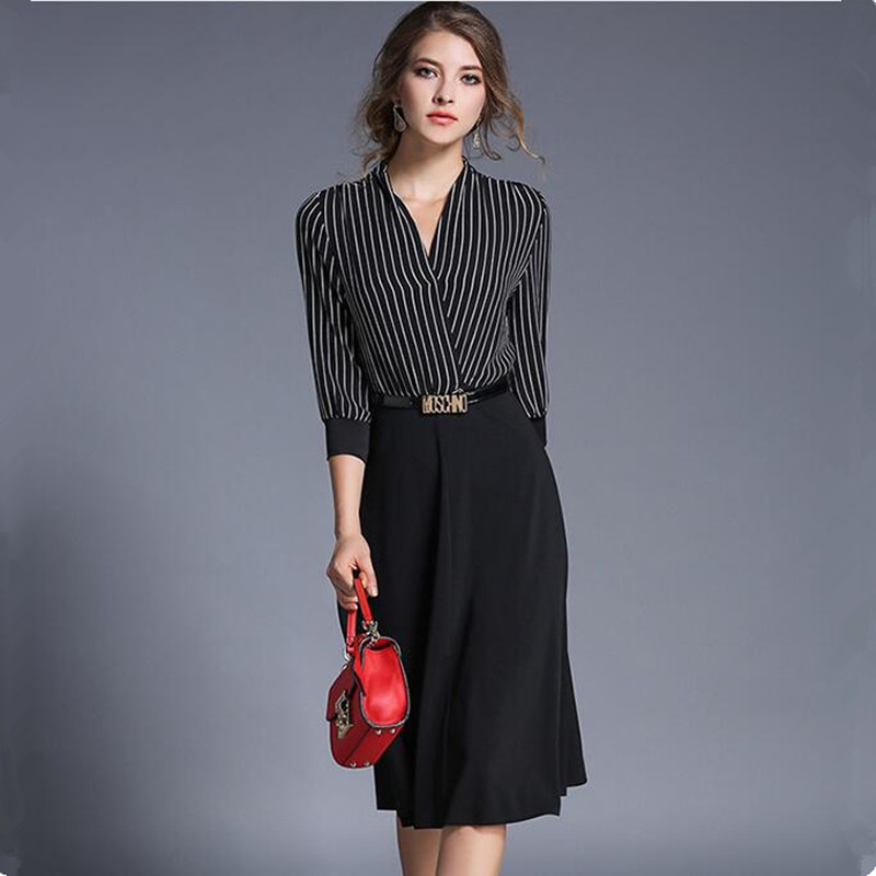 europe v neck striped dress spring 2017 vestidos ukraine elegant women office dress vetement. Black Bedroom Furniture Sets. Home Design Ideas