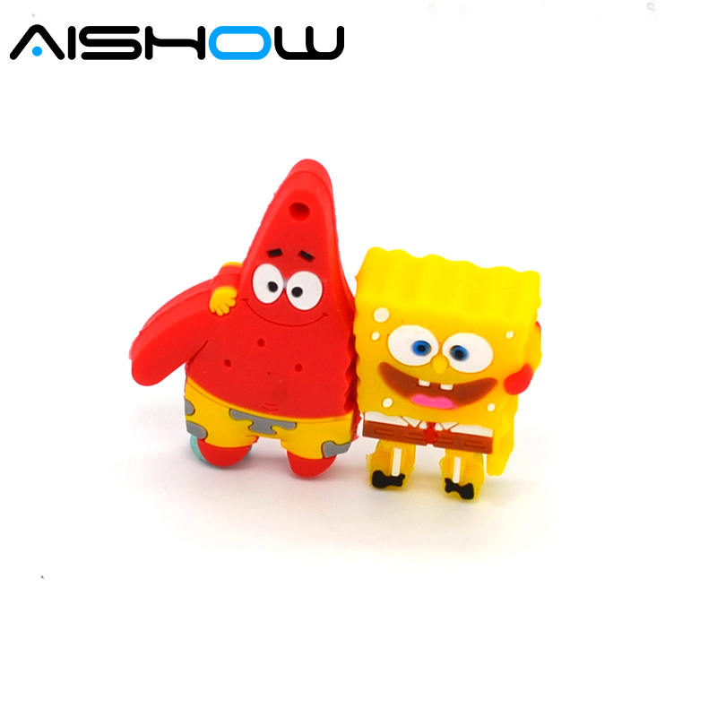 100% Capacity 4GB 8GB 16GB Cute Spongebob Patrick together U disk lovely creative usb flash drive pen drive Free shipping