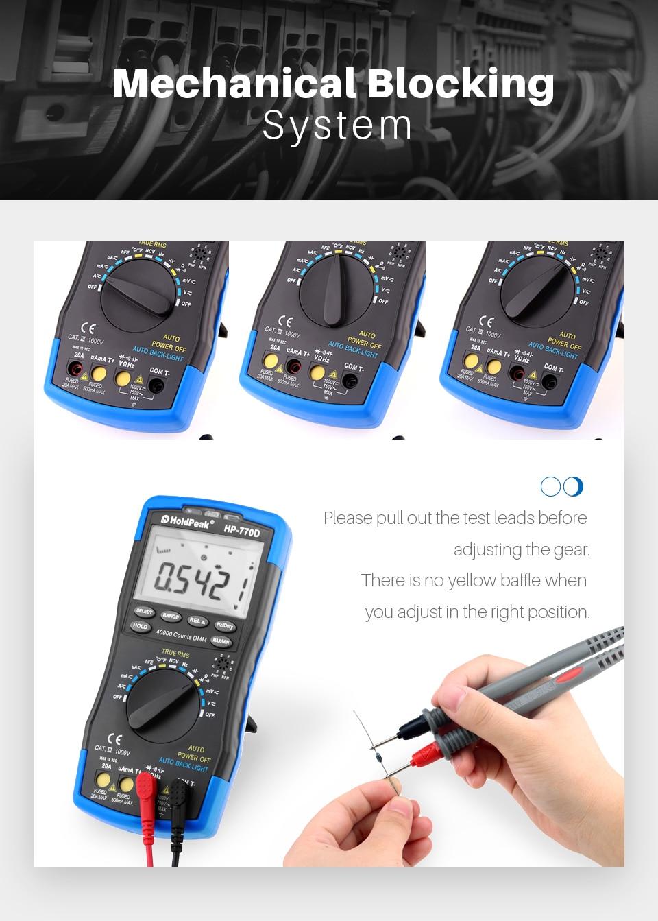 Probador multímetro digital HoldPeak HP-770D Rango automático - Instrumentos de medición - foto 4