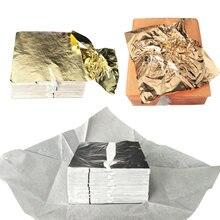100 adet sanat zanaat tasarım kağıt yaldız taklit altın gümüş bakır folyo kağıtları DIY zanaat dekor yaprak yapraklar levhalar 14x14cm