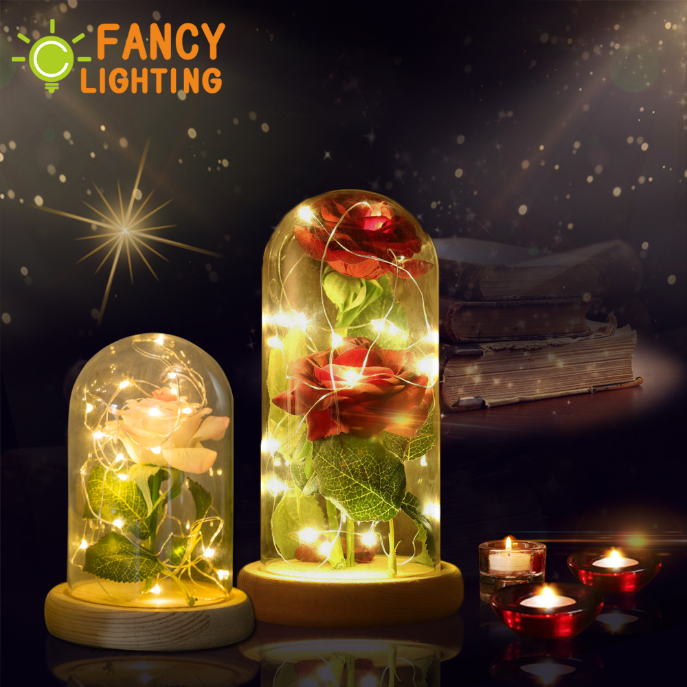 Rose night lamp with 2pcs Red/Pink flowe