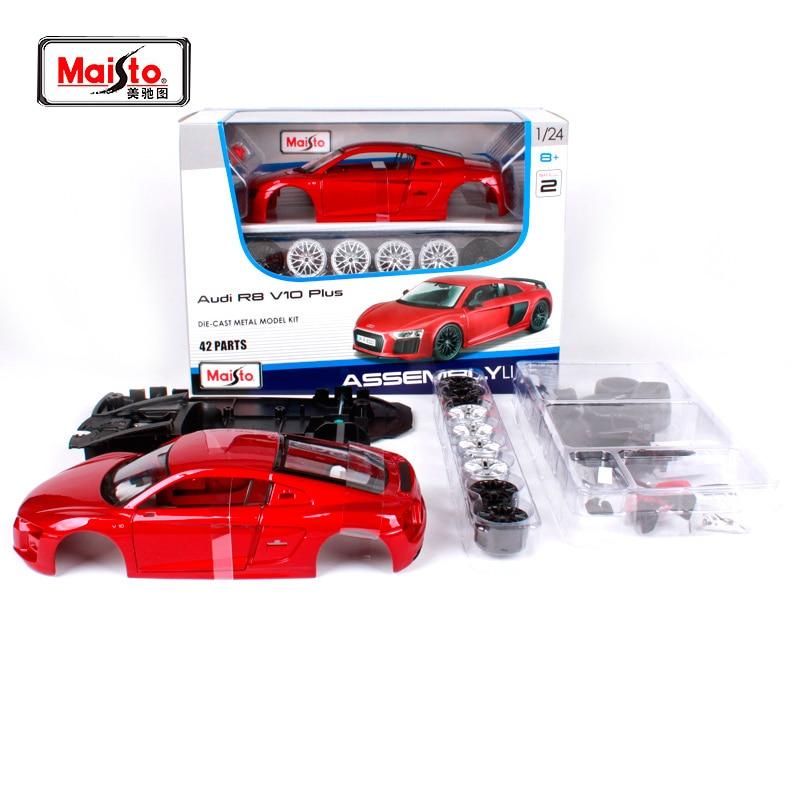 Maisto 1 24 Assemble Line Red Car Diecast Model For Audi R8 V10 Plus