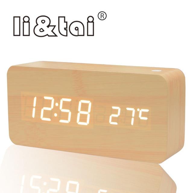 902fe70697b LED de Alarme do Relógio de madeira Estilo moderno Soa Controle de  Temperatura Calendário Display LED