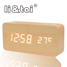 Wooden LED Alarm Clock modern Style Temperature Sounds Control Calendar LED Display Electronic Desktop Digital Table wood Clock