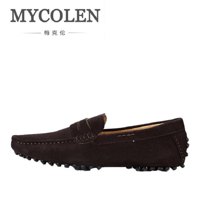 MYCOLEN New Slip On Casual Men Loafers Spring And Autumn Moccasins Mens Shoes Genuine Leather Men's Shoes Zapatos Hombre mycolen men loafers leather genuine luxury designer slip on mens shoes black italian brand dress loafers moccasins mens