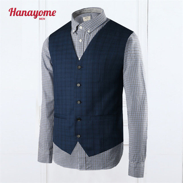 Dark Blue Vest Men's Cloth For Business Green Man Suit Navy Tuxedo Suits For Men Plaid Vest 2016 Men Wedding Suit Vests SI05