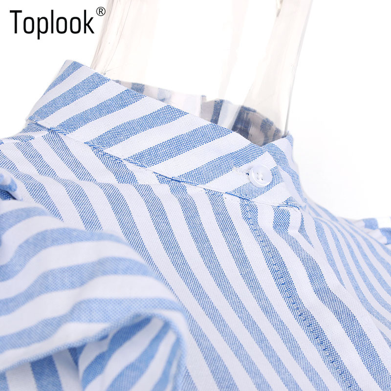 HTB1baQ7PVXXXXbWaXXXq6xXFXXXg - Blue Frilled Blouse Striped Long Sleeve Shirt Women Casual
