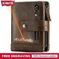 KAVIS Genuine Leather Wallet Men PORTFOLIO Male Cudan Small Portomonee Perse Coin Purse Pockets Slim Rfid