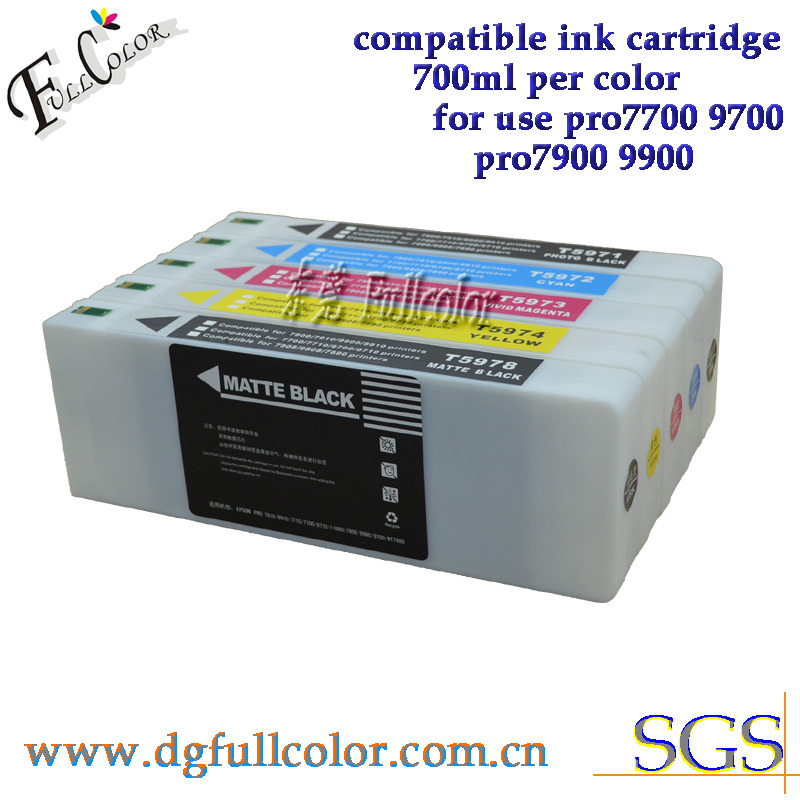 Free shipping 700ml ink cartridge for epsn pro 9700 7700 large format printer ink 5 color set T5961-5 replace ink 5 pcs with chip and resetter refillable 7700 9700 ink cartridge for epson 7700 9700 large format printer