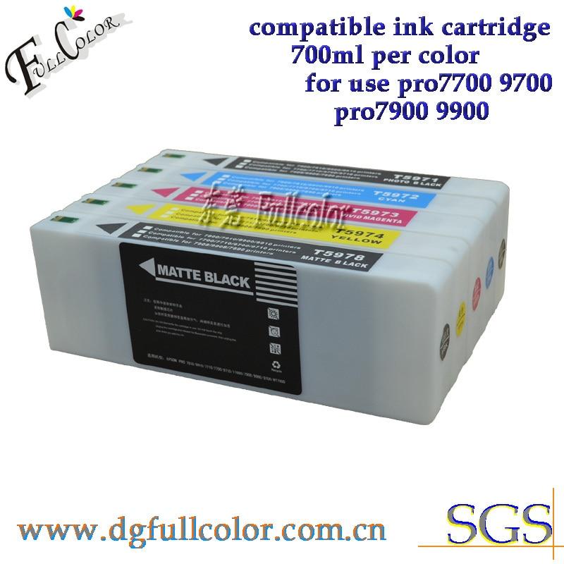 Free shipping 700ml ink cartridge for epsn pro 9700 7700 large format printer ink 5 color set T5961-5 replace ink free shipping ink buffer bottle for large format printer aprint polaris printer