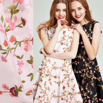 Embroidery silk organza gauze fabric 137 cm see-through shirt dress silk fabric crisp fashion natural silk fabric cloth