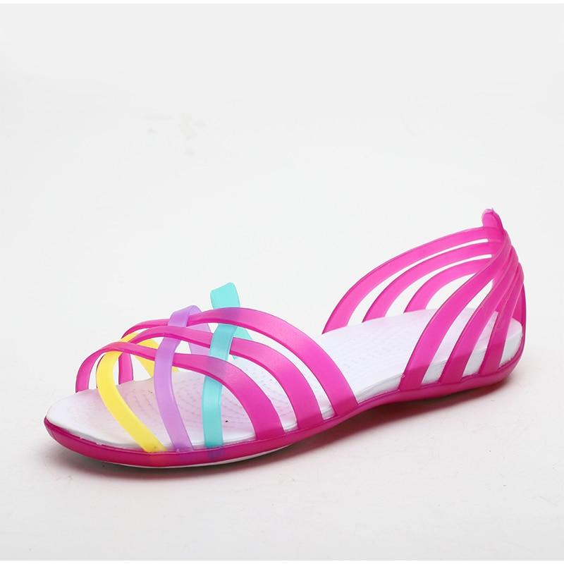 HTB1baQJMCzqK1RjSZFpq6ykSXXa0 MCCKLE Women Jelly Shoes Rainbow Summer Sandals Female Flat Shoes Ladies Slip On Woman Candy Color Peep Toe Women's Beach Shoes