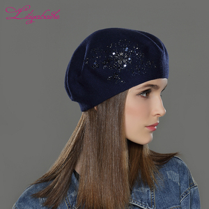Image 4 - LILIYABAIHE New Women Winter Hat wool Knitted Berets Cap with flower Sequins diamond decoration solid colors fashion lady hat