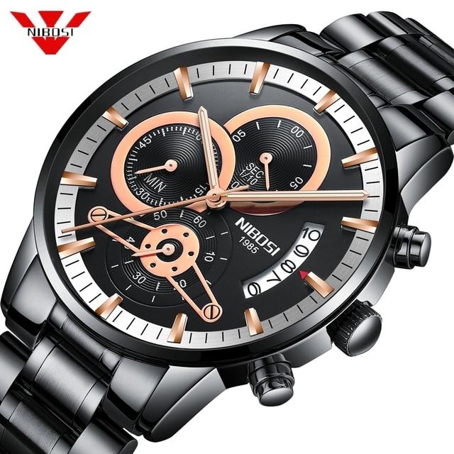 NIBOSI Rose Gold Mens Watches Top Brand Luxury Relogio Masculino Quartz Watch Men Clock Waterproof Sports Watch Erkek kol saati