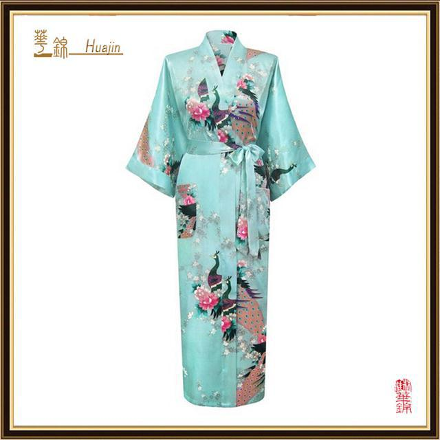 29c7fc8262ffa Light Blue Fashion Women Satin Robe Gown Sexy Lingerie Long Nightclothes  Kimono Flower Plus Size S-XXXL