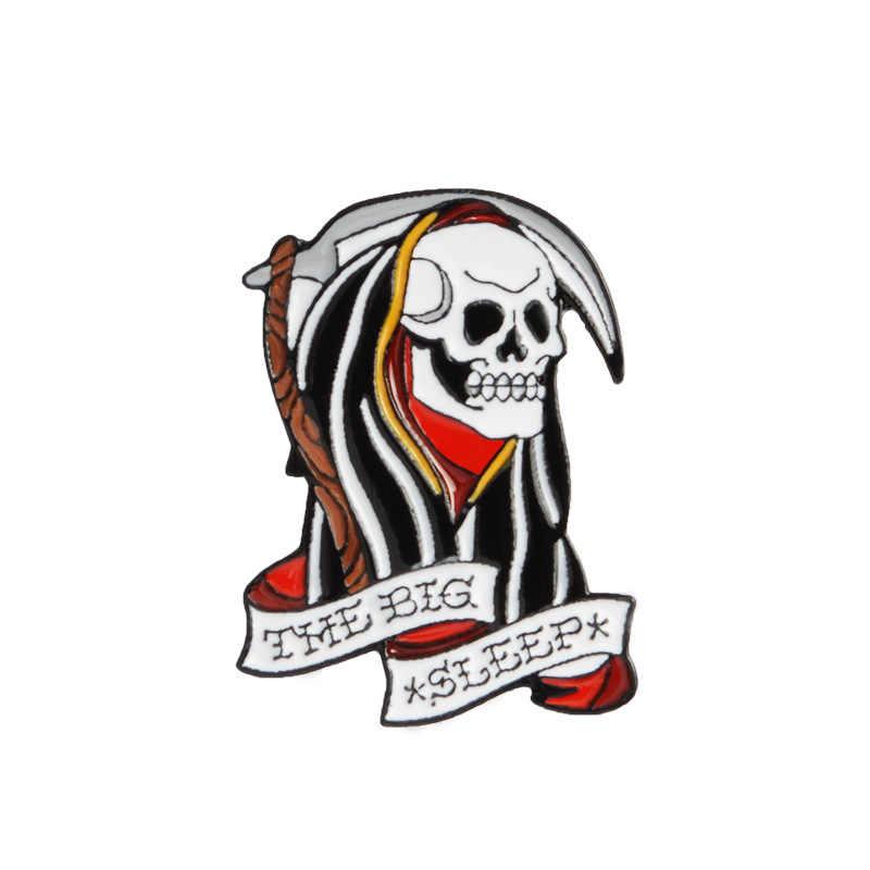 Divertente cartone animato di Pizza Taglio di Capelli Del Cranio Dello Smalto Spilli Punk di Scheletro Pulsante Distintivi e Simboli Gioelleria raffinata e alla moda per Gli Amici Zaino Accessori Camicia