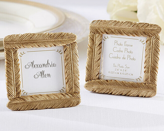 Resin Gold Feather Wedding Frame Baby Shower Favors Photo Frame ...