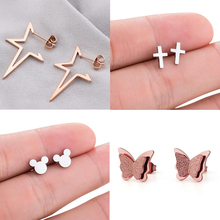 Shuangshuo Cute Mickey Stainless Steel Stud Earrings for Women Everyday Jewelry Tiny Butterfly Star Cross pendientes