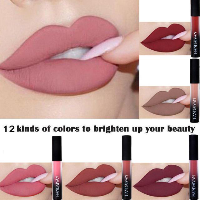 HANDAIYAN líquido lápiz labial mate terciopelo impermeable labial impermeable de larga duración brillo de labios no-Stick taza Batom mujeres maquillaje