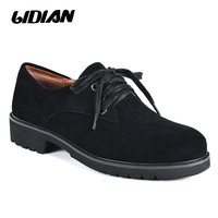 2018 Spring and Autumn New Black Classic Sheepskin Suede Shoes, Office Pig Collar Mature Lady Lace Round Casual Shoes P15 3